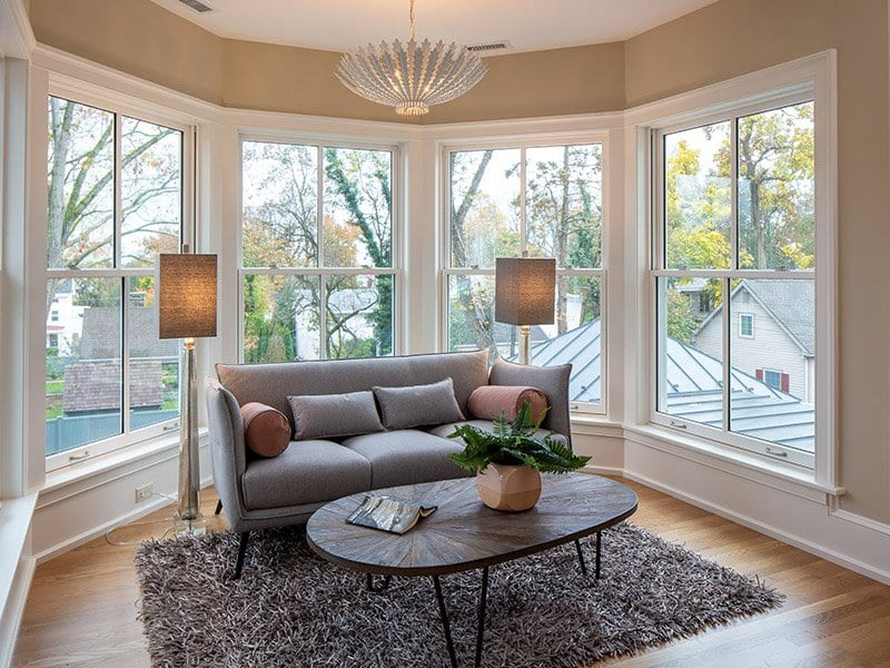 Master bedroom window seating area after home staging